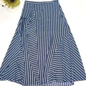 Blue white stripe long ruffle skirt